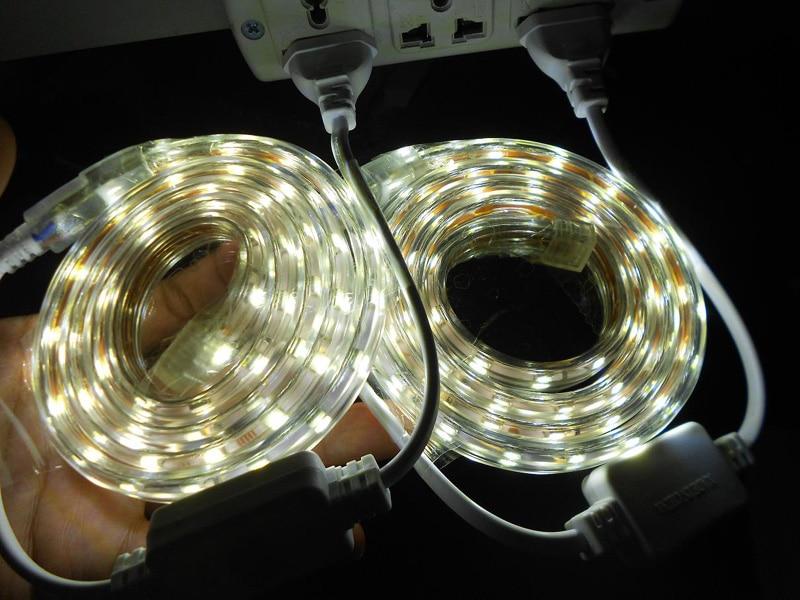 Светодиодные полосы 220 В 1 м Водонепроницаемый 220 В 5050 SMD 60 гибкие светодиодные полосы 5 Вт/м, теплый белый/холодный белый, 60leds/м