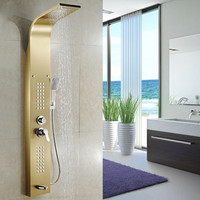 Thermostatic Rainfall Shower Panel Faucet Body Massage System 304 Stainless Steel Shower Column Tap Digital Temperature Screen