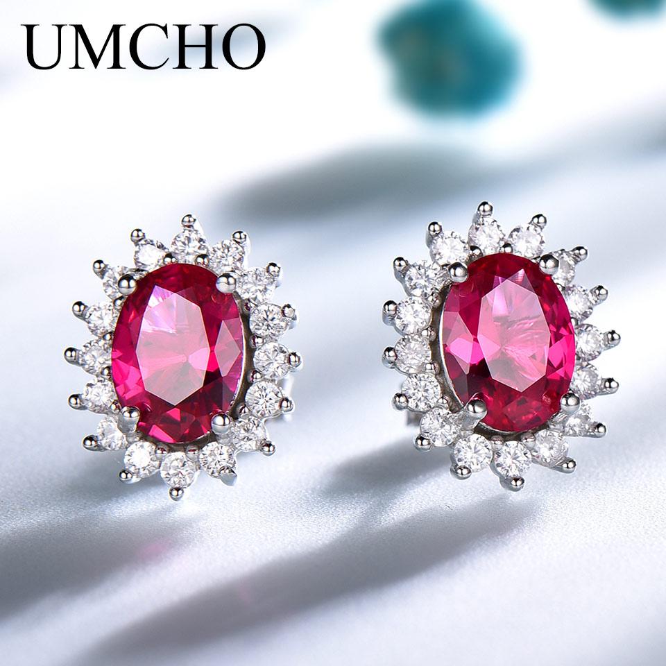 UMCHO Luxury 925 Sterling Silver Earrings Red Corundum Stud Earrings For Women Bridal Wedding Party Jewelry Brand Fine Jewelry