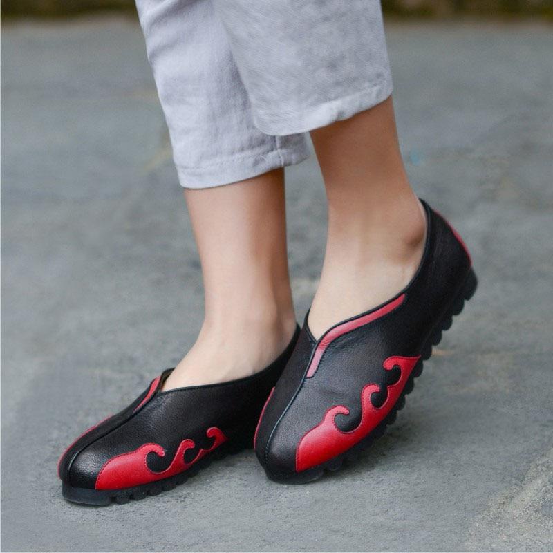 Cuir fait Femmes And Plates Red De Blue Semelle Confortables Couche En Chaussures Supérieure Simples Rétro Gray black Saisons Gamme Haut Doux Main Quatre 4dnEwqxd