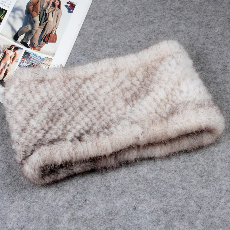 Knit mink Fur Headband Real Fur Neck warmer Winter Women Head wear Ear Warmer Neck ring Elastic style MS.MinShu