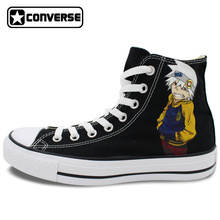 Black Converse Chuck Taylor Anime Soul Eater Design Hand Painted Shoes Man Woman High Top Canvas Sneakers Men Women Cosplay