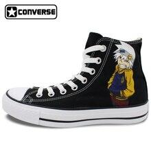Negro Converse Chuck Taylor Anime Soul Eater Diseño Pintado A Mano Zapatos Hombre Mujer High Top Zapatillas de Lona Hombres Mujeres Cosplay