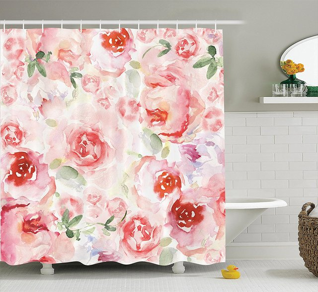 Bon Memory Home Watercolor Flower Shower Curtain Decor Pink Roses Vintage Style  Polyester Fabric Bathroom Shower Curtain