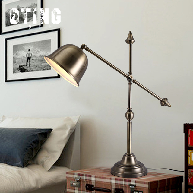American vintage loft style wrought iron rotatable table lamp american vintage loft style wrought iron rotatable table lamp adjustable reading burner bedroom study table light aloadofball Image collections