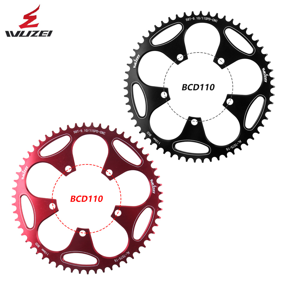 WUZEI Road Bicycle Chainring <font><b>110BCD</b></font> crank <font><b>50T</b></font> 52T 54T 56T 58T Chainwheel Crankset Tooth plate Ultralight Bicycle Parts image