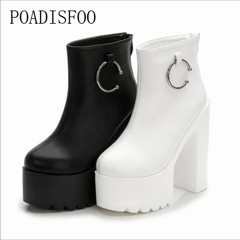 Poadisfoo Women Black White Ankle Boots 145cm Super High Heels