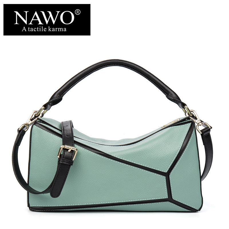 ФОТО NAWO Patchwork Cow Genuine Leather Women Shoulder Bags Boston Female Totes Luxury Brand Fashion Small Ladies Crossbody Handbags