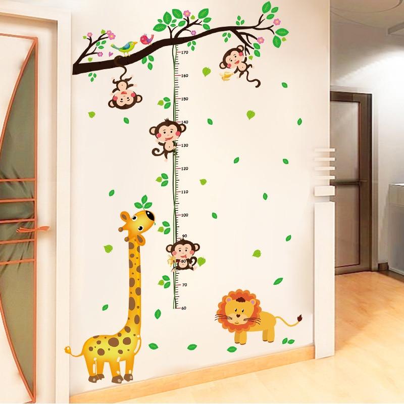 Monkey Climbing Vines Post Kindergarten Children Measuring Height Wallpaper  Bedroom Giraffe Cartoon Wall Stickers In Wall Stickers From Home U0026 Garden  On ...