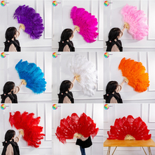 13 Bones Large Size Ostrich With Marabou Feather Fan  Carnival Dance Party Show Decorative Craft Customizable Color