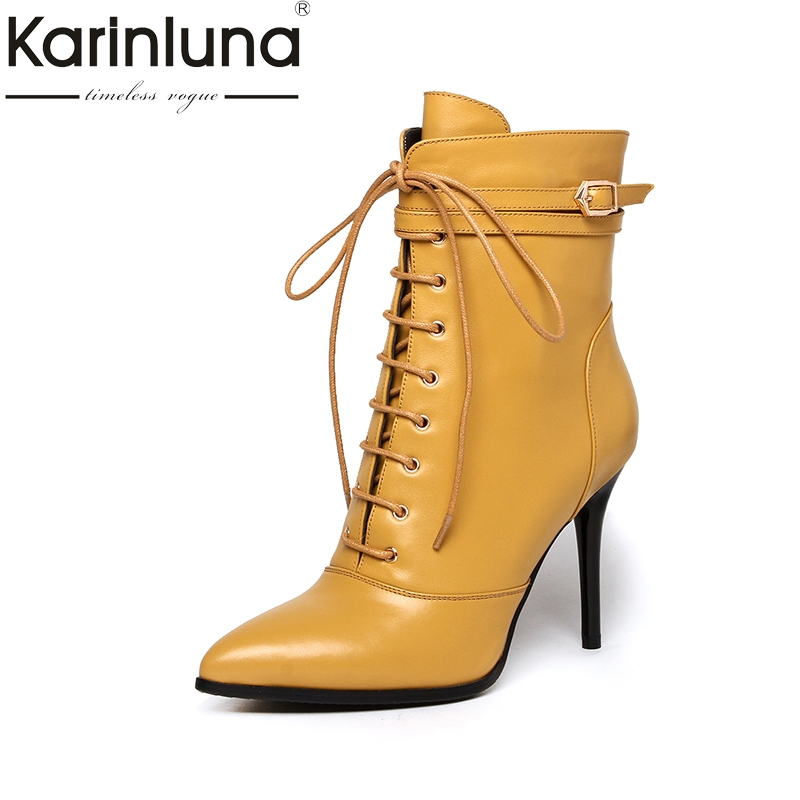 KarinLuna 2018 Big Size 33-43 Full Grain Leather Pointed Toe Women Boots Sexy Zip Up Woman Shoes Thin High Heels Ankle Boots