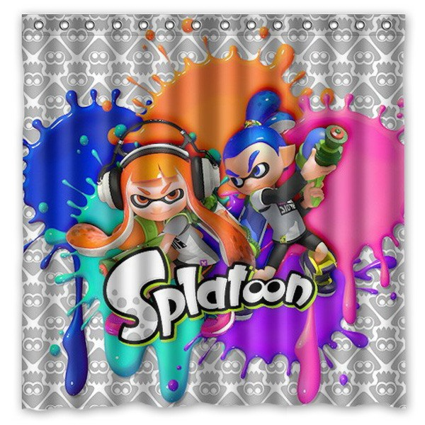 Splatoon Design Bathroom Shower Curtain WaterproofMildewproof Polyester Fabric Bath Curtains 180cm180cm