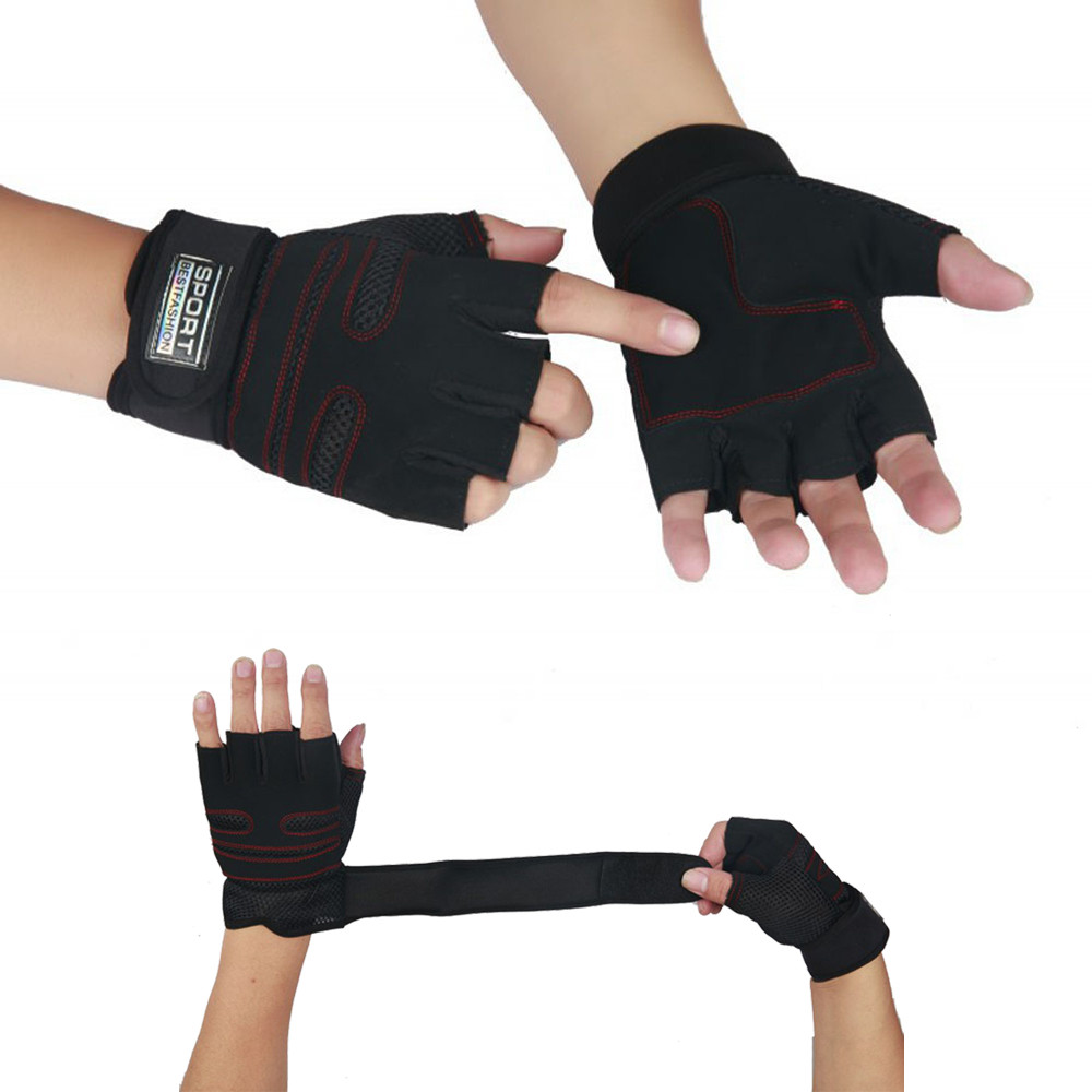 Weight Lifting Gym Gloves Training Fitness Wrist Wrap: 1 Pair Weight Lifting Gym Gloves Training Fitness Wrist