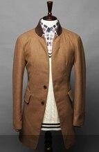 2016 Новых Осенью и Зимой мужская хит цвет воротник минималистский стиль Теплые пальто мужские Случайные длинный отрезок шерстяной пальто куртки