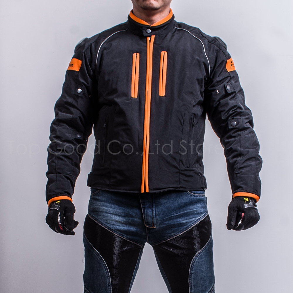 Top Good Motorcycles Jacket Titanium alloy Racing Suits Windproof Warm four seasons can use 2 in1 & 5pcs armor NJ-F601 orange
