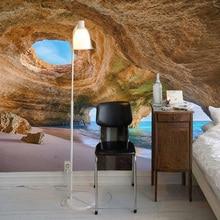 3D Wallpaper Seaside Cave Wall Painting Wallpaper