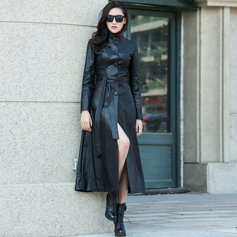 XS-8XL New Fashion Women's   suede   trench coat Autumn winter black Pu   Leather   coat Slim Long jacket   leather   trench coats for women
