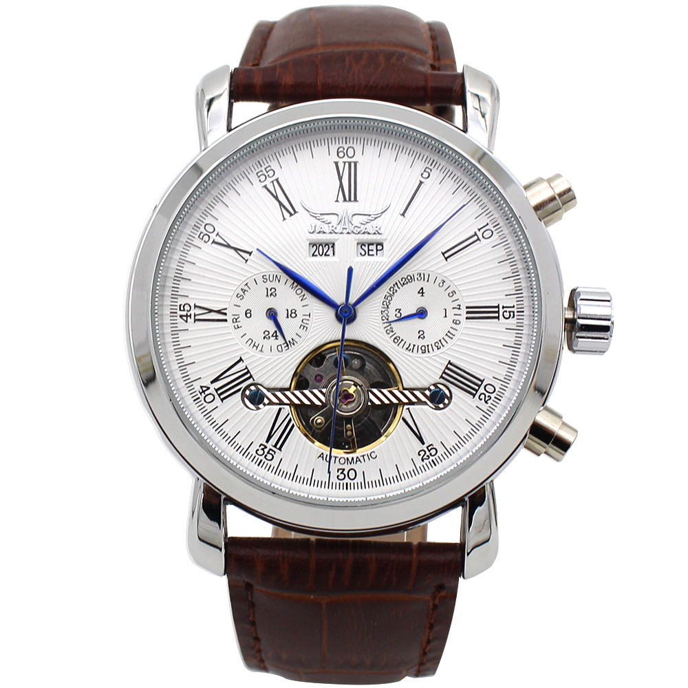 JARAGAR Big Dial Complete Calendar Men's Watch Leather Strap Mechanical Wristwatch Male Clock Relojes Hombre