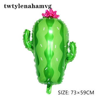 NEW boy and girl baby toy Green desert Mexico cactus standing plant aluminum foil Balloons Birthday Party New Year Decorations image