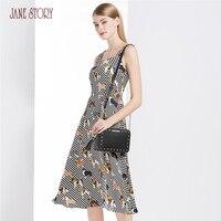 Джейн Story 2018 новые летние женское платье собак печатных милый комбинезон платье Slash шеи рукавов Сладкий Повседневное модная женская Праздни