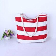 цена на 4PCS / LOT  Women Large Beach Canvas Bag Stripes Printing Handbags Red Summer Shoulder Bag Totes Casual Shopping Bags