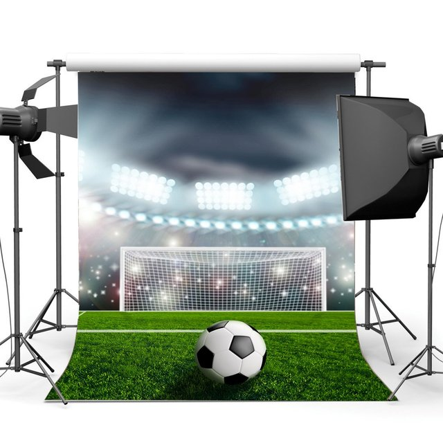Football Field Backdrop Indoor Stadium Stage Lights Grass Meadow Bokeh Glitter Sequins Sports Match School Game