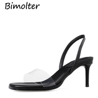 Bimolter New Summer Cow Leather + PVC Sandals Ankle Wrap Transparent Summer Fashion High Thin Heels Party Dress Footwear FC077