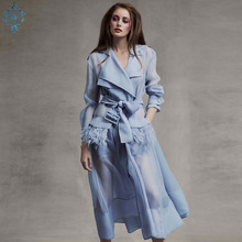 Ameision European Designer Runway Dresses 2018 Summer Autumn Elegant Vintage Long Sleeve Feathers Organza Madi Dress White/Blue