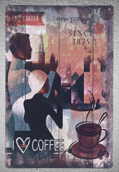 1 pc Coffee Italian Cappuccino Latte Doppio Americano shop Tin Plates Signs wall plaques Decoration Dropshipping Poster metal