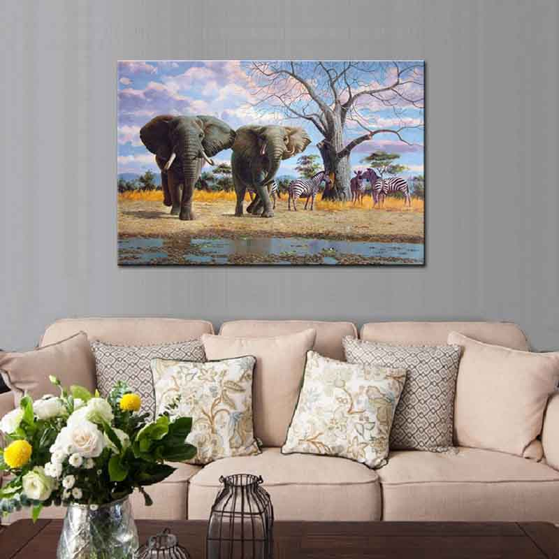 Modern Elephant With Giraffe Canvas Print Picture African Animal Wall Art  Painting For Living Room Decor