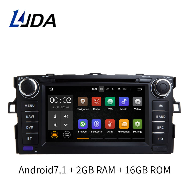 LJDA 2 Din 8 Inch Android 7.1 Car DVD Player For Toyota Corolla 2006-2011 GPS Radio 2GB RAM 16G ROM Quad Cores Multimedia USB