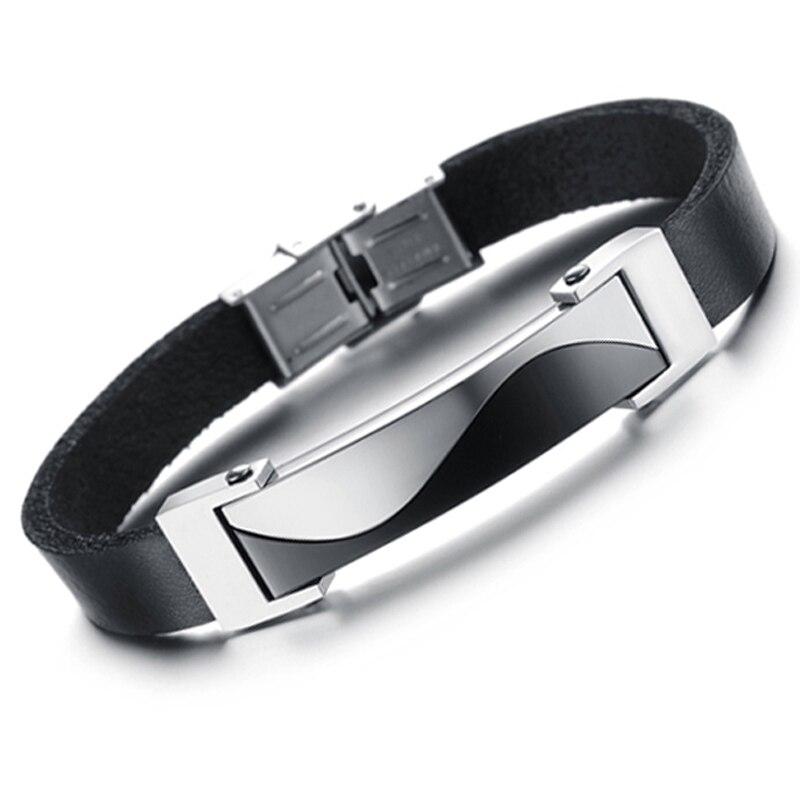 Высокое качество! Из нержавеющей стали серебро и подлинная силикон регулируемой длиной мужской браслет, Покрытие вакуум работы