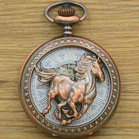 Fashion Mechanical Pocket Watch Horse Copper Antique Classic Bronze Man Fob Watches Father Gift Hour Chain