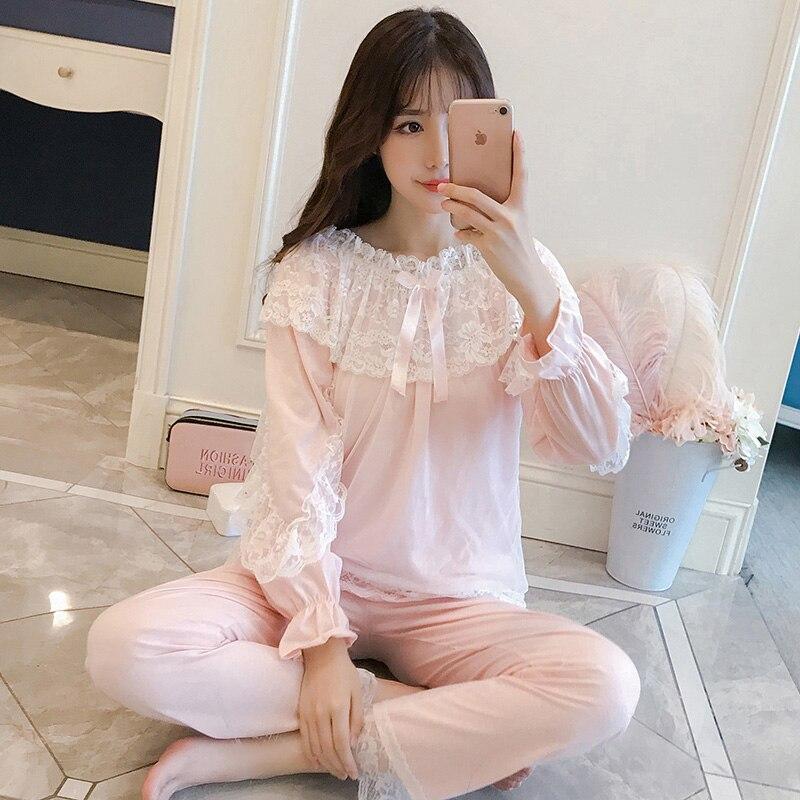 B Women Spring Cotton Long Sleeved Sleep Clothing Lace Nighty Princess Lady Nightwear Fashion Sleepwear Full Length Female