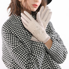 New Fashion PU Geometric Butterfly Print Women Gloves Winter Thicken Warm Touch Screen Glove Spring Full Finger Driving Gloves