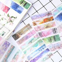 6 Sheet Ancient Scenery Aesthetic Stickers For Scrapbooking Bullet Journal Adhesive Sticker Set Dairy Label Photo Ablums 308