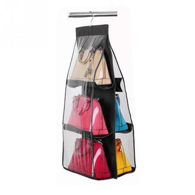 Las Handbag Storage Organizer Closet Women Tote Rack Hangers 6 Pockets For Hanging Bag Purse Handbags