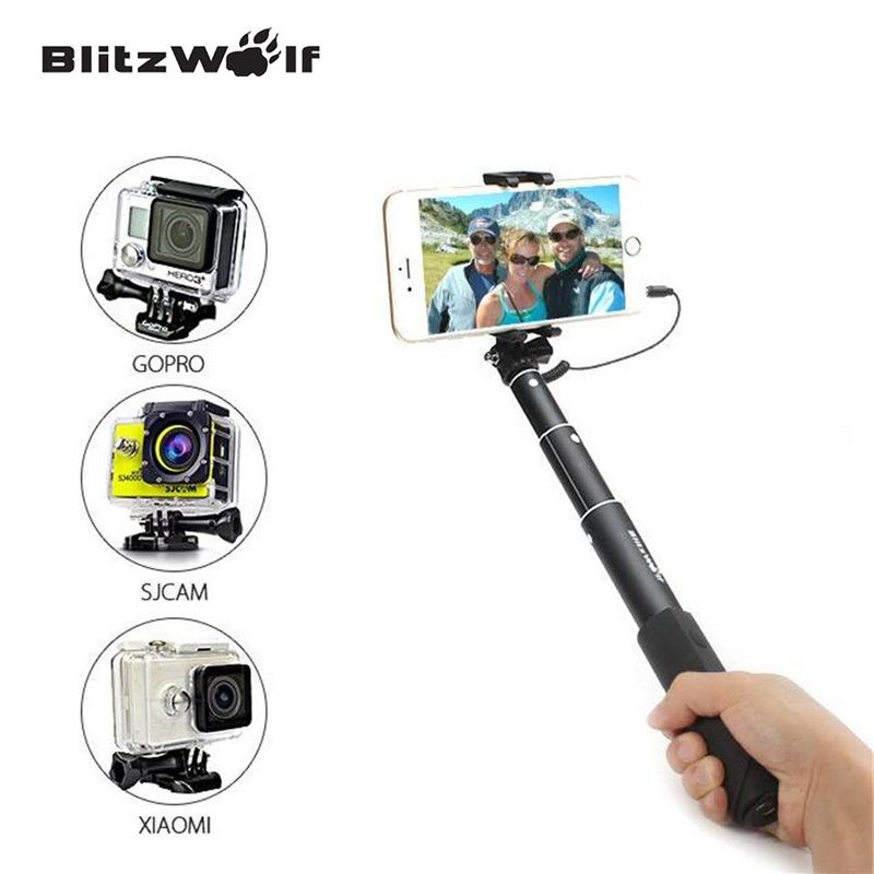 Prix pour BlitzWolf Fil Contrôle Mini Extensible Selfie Bâton Monopode Pour iPhone 6 Pour Samsung Pour Galaxy Smartphone Filaire Selfie Bâtons