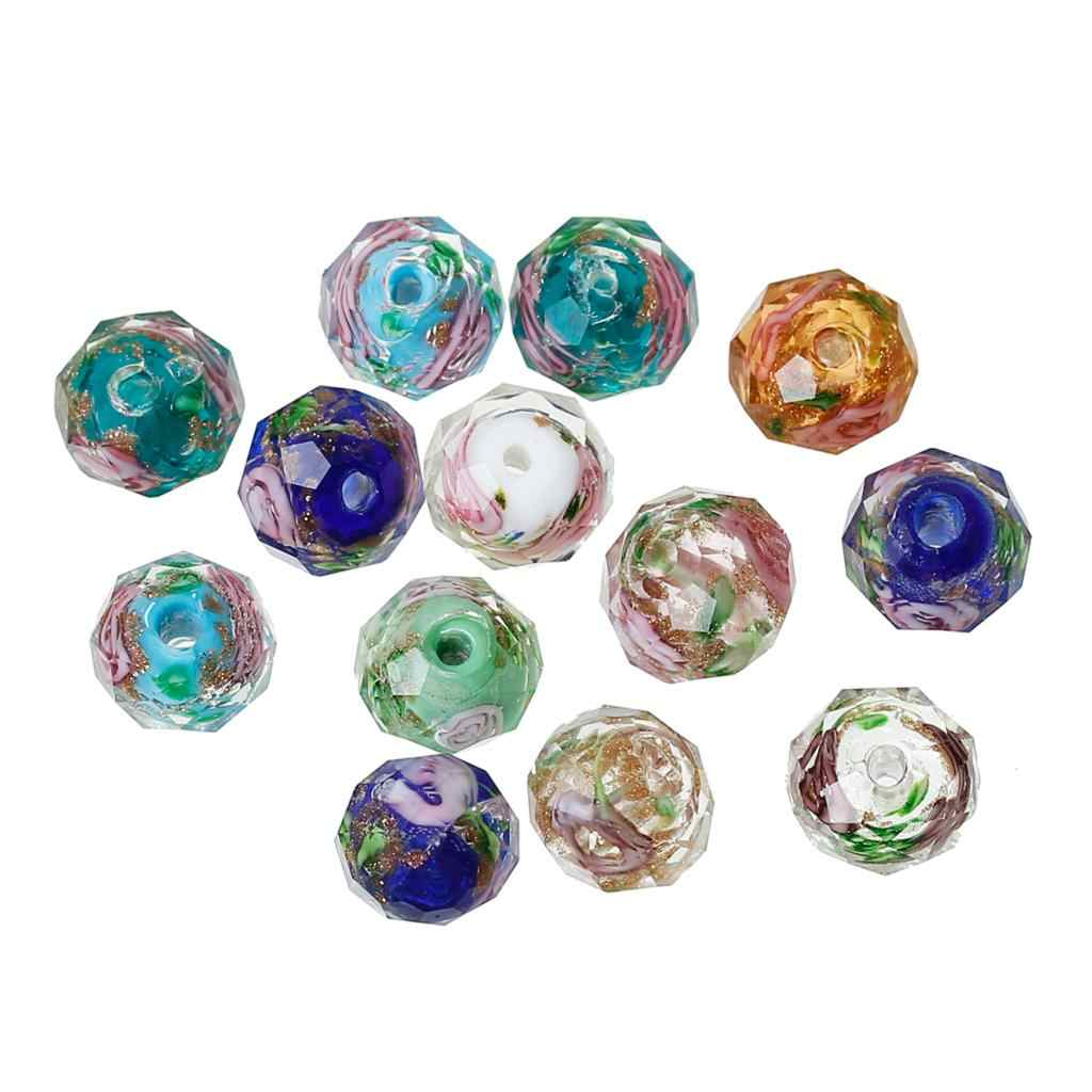 DoreenBeads Lampwork Glass Beads Round At Random Flower Pattern Faceted About 10mm x 8mm ,Hole: Approx 1.5mm-2.3mm,2 Pieces