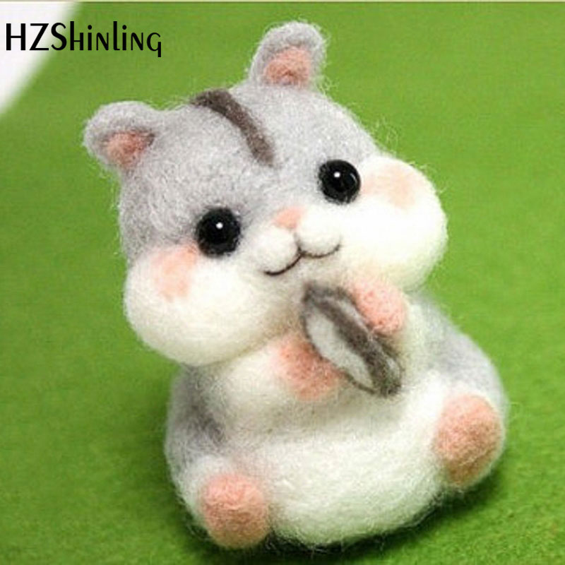 Non-Finished Handmade Squirrel Toy Doll Wool Felt Poked Kitting DIY Cute Animal Pet Wool Felting Package