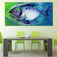 JQHYART 벽 예술 캔버스 물고기 동물 유화 인쇄 거실 홈 장식