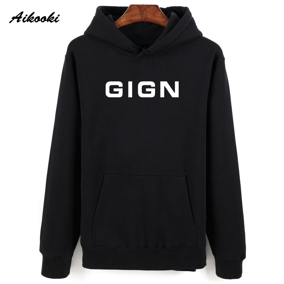 Aikooki Police GIGN Hoodies Sweatshirt Men Women Pullover Hoody Winter Loose Casual Fashion Hooded Shirts Print GIGN Hat Jumpers