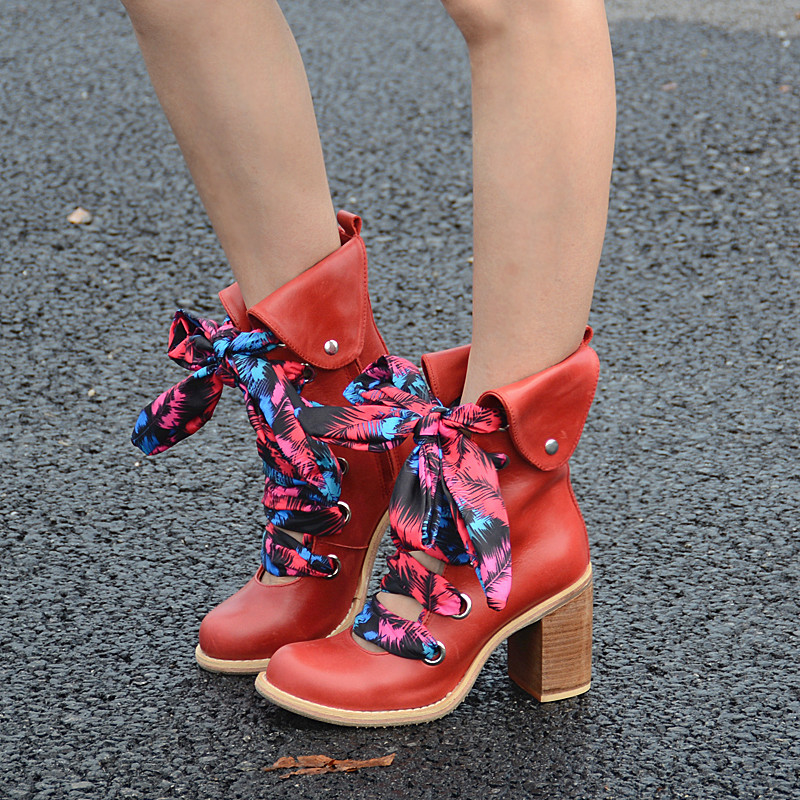 Choudory Square Heels Woman Boots Spring Autumn High Heels Shoes Woman Leather Boots Butterfly Knot Up Decoration Cut Out