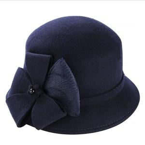 Image 3 - Винтажная Стильная осенне зимняя 100% шерстяная фетровая шляпа для женщин с цветами, верхняя шляпа для девушек, Женская флоппи Кепка с бантиком
