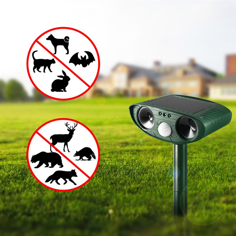 ABEDOE Solar Powered Ultrasonic Repeller Waterproof Pest Animal Cats Repeller Motion Act ...
