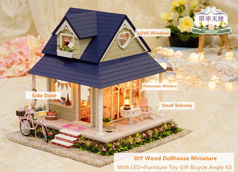 Cuteroom Diy Handmade Wooden Dollhouse Miniature With House