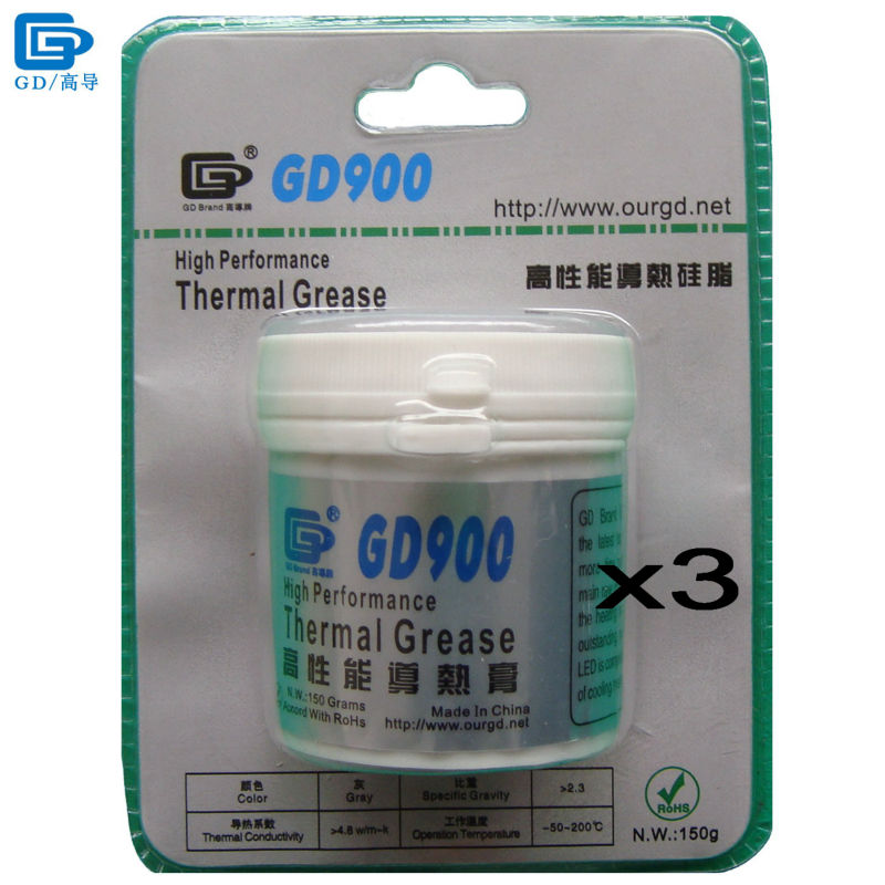 GD900 Thermal Conductive Grease Paste Silicone Plaster Heat Sink Compound 3 Pieces Net Weight 150 Grams High Performance BR150 все цены