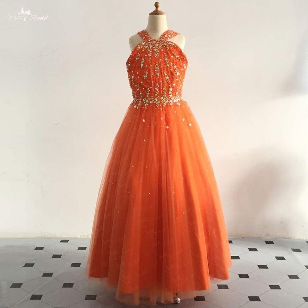 LZC028 Pearls Beaded Orange Ball Gowns Floor Length   Flower     Girl     Dresses   Vestido De Daminha 2018