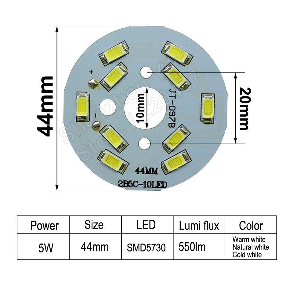 5W 44mm 550lm LED PCB with smd5730 chips installed, aluminum plate ...