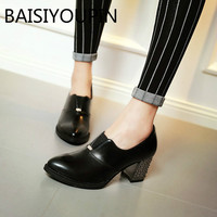 British Coarse High Heels Shoes Women S Single Thick Heel Leather Shoes Work Shoes Femlae Root
